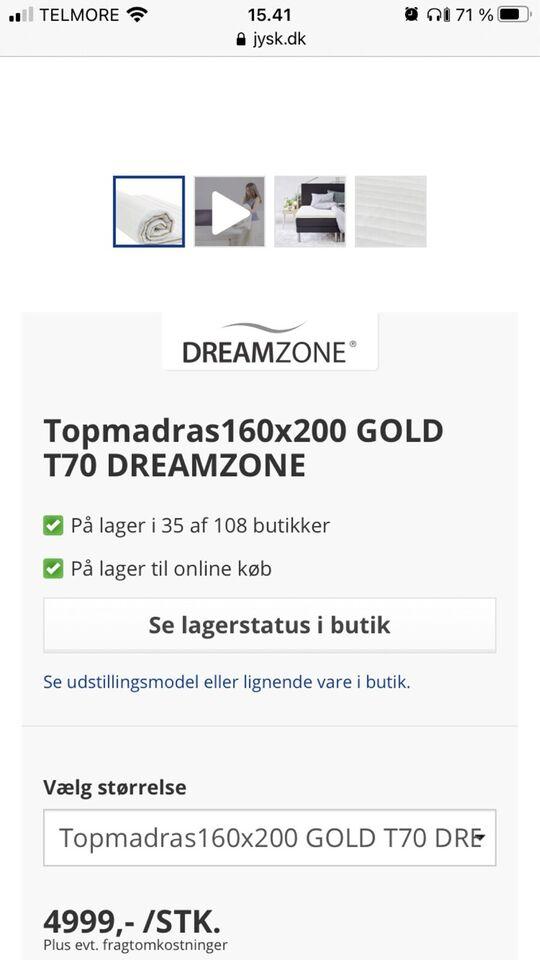 Topmadras, Jysk topmadras GOLD T70 DREAMZONE, b: 8 l: 200 h: