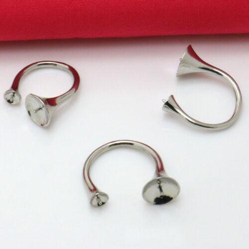 12PCS Silver Tone 5mm 10mm Cabochon Settings Base Rings #92524