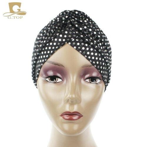 Women Indian Stretchy Turban Hot Gold Polka Dot Muslim Turban Hat  Chemo cap