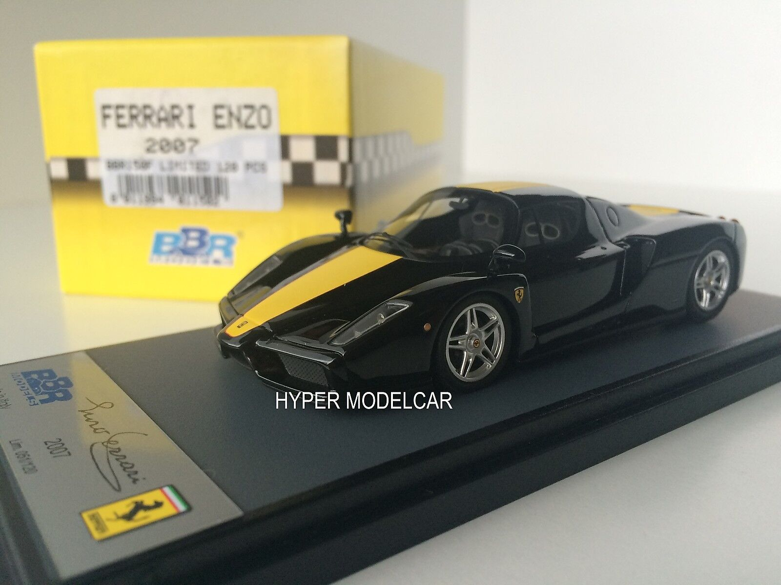 BBR Model 1 43 Ferrari Enzo 2007 negro With Yellow Stripes Art. BBR150F