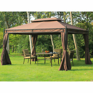 Clearance Sale Outsunny 10x13ft Garden Gazebo Double-Tiered with Curtain