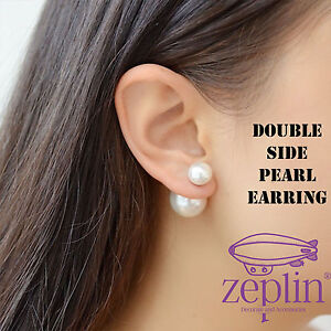Image Is Loading White Double Side Pearl Earring Pair Stud Earrings