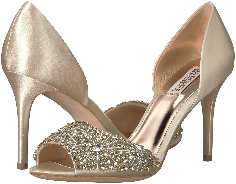 Badgley Mischka MARIA Satin Pump Crystal Embellished Heel Ivory 9/10  235 New