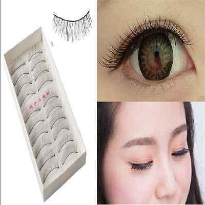 Fashion 10 Pairs Makeup Handmade Natural Fashion Long False Eyelashes Eye Lashes