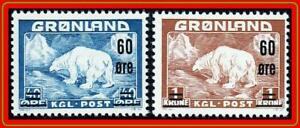 Greenland-1956-Polar-Bear-SC-39-40-MNH-39-LINE-on-GUM-vFRESH-CV-99-00-ANIMALS