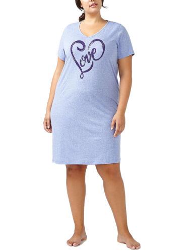 """rif. 543 Ladies /""""Love/"""" Stampa Puro Cotone Camicia Da Notte viola screziato NUOVO"""