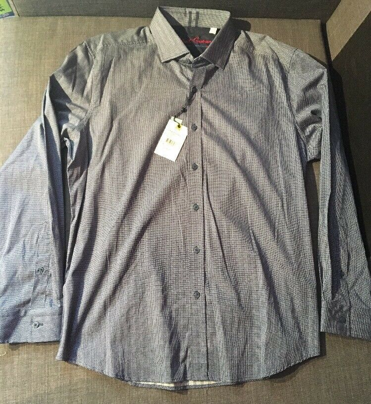 NWT Robert Graham Konnor Navy Long Sleeve Dress Shirt Button Up Men's Size XXL