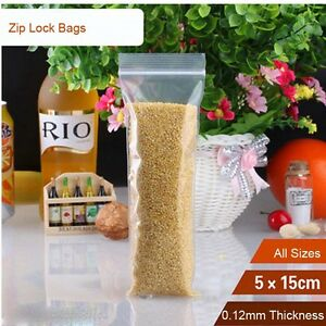 100pcs 5*15cm 5mil Grip Seal Bags Resealable Poly Plastic Clear Zip Lock Bags