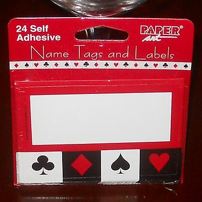 24 SELF ADHESIVE PAPER ART NAME TAG FOOD LABEL PARTY POKER CASINO Black & Red