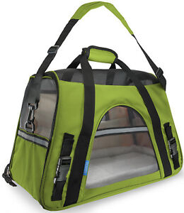 Pet-Carrier-Soft-Sided-Large-Cat-Dog-Comfort-Spinach-Green-Bag-Travel-Approved