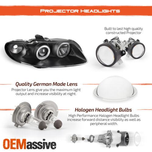 Fits 04-06 Pontiac GTO Black Bezel Dual Halo Projector Headlights Front Lamps