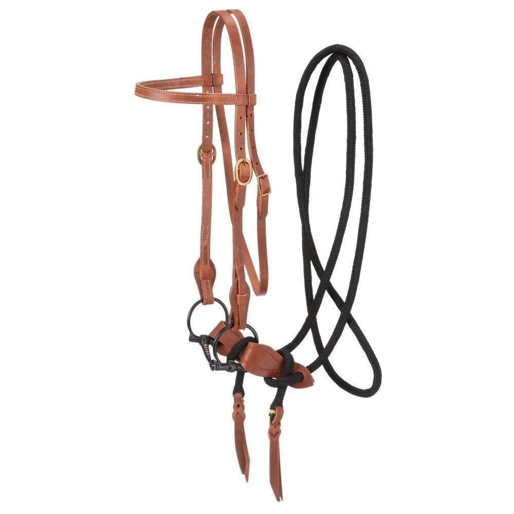 Tough-1 Harness Leer Training Bridle met zwart Snaffle Bit en 10'Cord Rein
