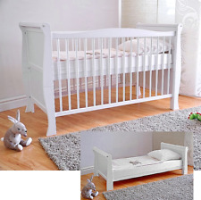 Wooden Baby Cot Bed & Deluxe Aloe Vera Mattress ✔ Converts to Junior Bed