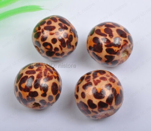 500Pcs 12MM brown wood leopard print round Charms spacer beads DIY Findings