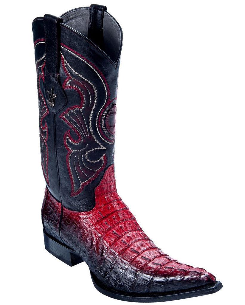 Los Altos Genuine RED FADE Caiman CROCODILE Tail 3x Toe Western Cowboy Boot EE+