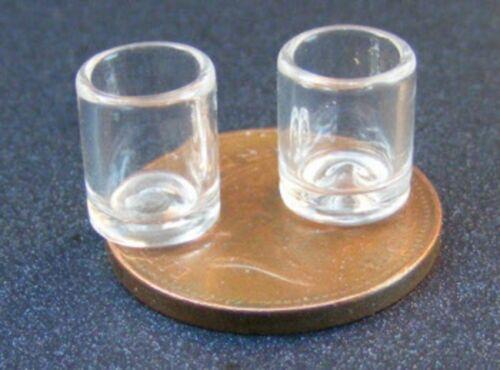 Échelle 1:12 2 WHISKY VERRES tumdee maison de poupées miniature verre Accessoire GLA34