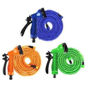 Latex-Deluxe-25-50-100-150-FT-Expanding-Flexible-Garden-Water-Hose-Spray-Nozzle