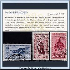 1932 Italia Regno Garibaldi 3 alti valori n. 322/324 Usati Certificato