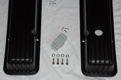 """12/"""" Air Cleaner SBC BLACK Finned Aluminum Tall Valve Covers 283 327 350 Chevy"""
