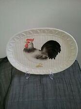 Vintage 1981 Otagiri rooster platter white basket weave kitchen decor JAPAN