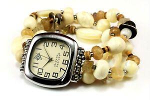 Silpada-Sterling-Silver-925-Mother-Of-Pearl-Stretch-Bracelet-Watch