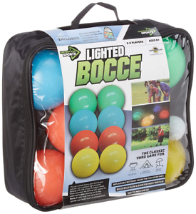 Water Sports Lighted Bocce Set, Illuminated Balls & Carry Case, Night Sports