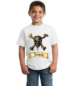 Pirates-of-the-Caribbean-Personalised-Children-039-s-T-Shirt-including-Name
