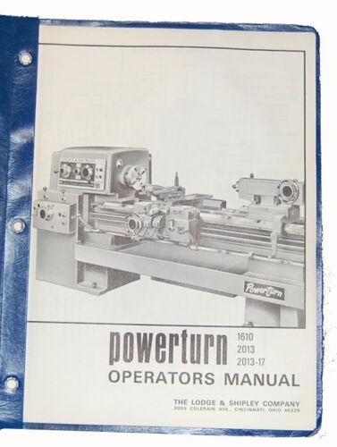 Installation /&  Operations Manual 2013-17 Lodge /& Shipley Powerturn 1610 2013