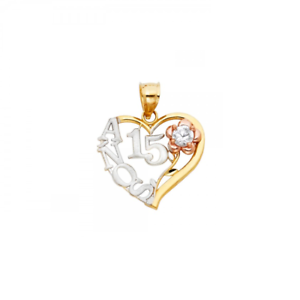 14K Yellow White pink gold CZ Flower Heart Sweet 15 Pendant - Quinceanera Charm