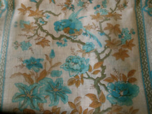 Vintage-Tree-of-Life-Floral-Bird-Cotton-Fabric-Aqua-Turquoise-Blue-Green-Brown