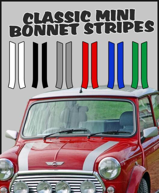 Classic Mini Cooper Bonnet Stripes Mayfair City Quality 7 Year Vinyl