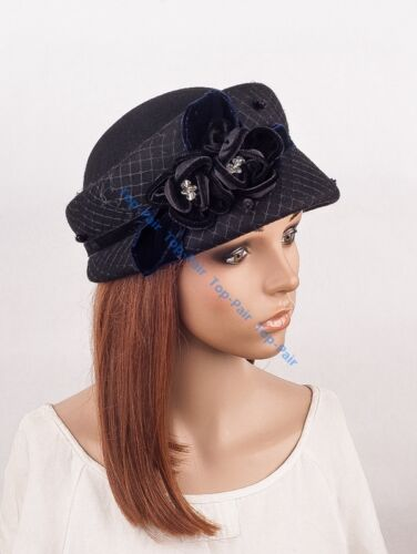 Elegant Women/'s Lace Rose Wool Felt Dress Church Wedding Party Formal Derby Hat
