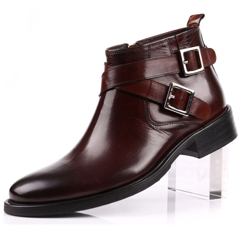 Real Leather Men's Business Shoes Fashion-Ankle Boots New all Size Brown Black