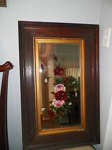 Vintage Antique Victorian Mirror Handpainted Pink Red