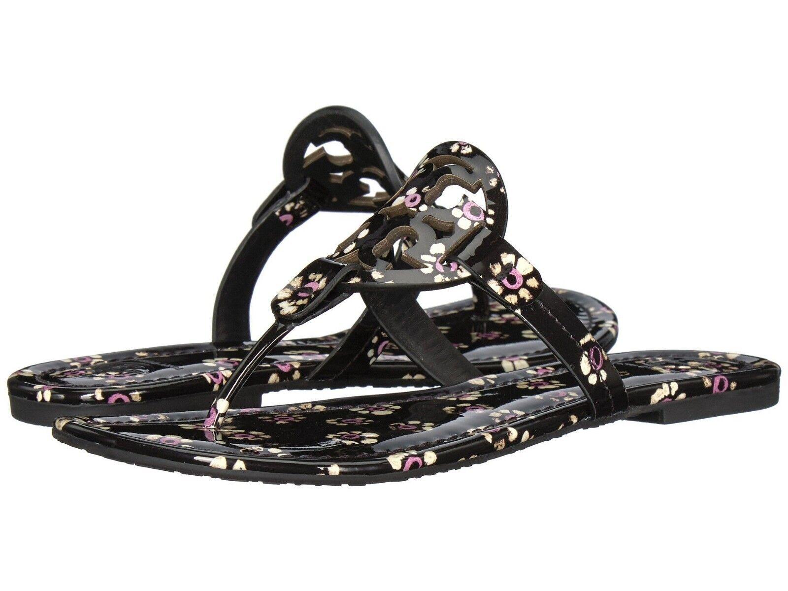 Tory Burch Miller Black Patent Stamped Floral Thongs Sandals Flip Flop 9.5 Slide