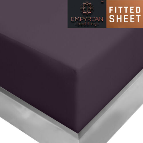 """21"""" Extra Deep Pocket Ultra Soft Fitted Sheet with Corner Straps,King Eggplant"""