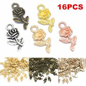 Lots-16pcs-Tibetan-Silver-Rose-Flower-Charm-Pendant-Beads-Jewelry-Making-DIY