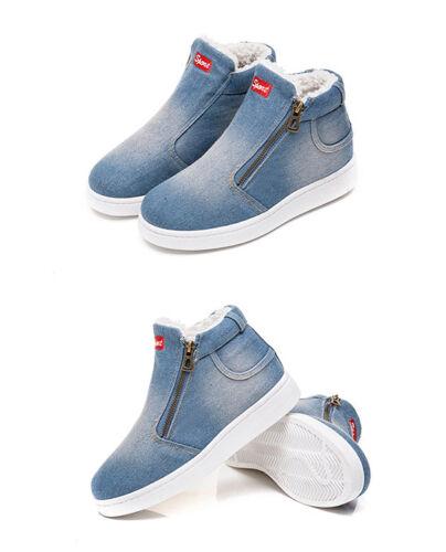 Women/'s Denim Design Boots Soft Flat Ankle Shoes Double Zip Winter Boots LH