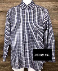 Ermenegildo-Zegna-Men-039-s-Blue-Plaid-Long-Sleeve-Button-Front-Shirt-Italy-Small