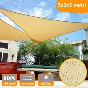 Vela-Telo-Parasole-5x5mt-Tenda-Triangolare-Ombreggiante-Giardino-in-HDPE-Beige