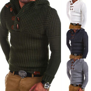 Cardigan-Men-039-s-Winter-Jumper-Top-Hooded-Pullover-Casual-Knitwear-Knitted-Sweater