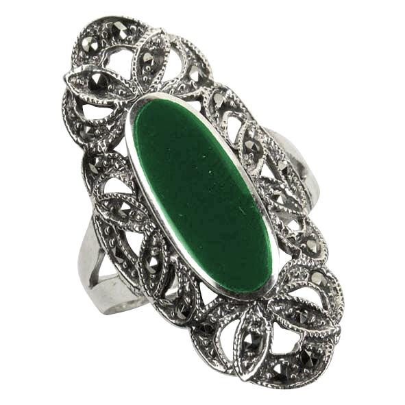 925 ECHT silver  Großer greener Achat- Markasit Ring, Gr. 62