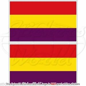 SPAIN-2nd-Spanish-Republic-Civil-Flag-Vinyl-Bumper-Decals-Stickers-4-034-100mm-x2