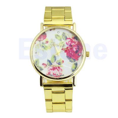 New Women Stainless Steel Stunning Rose Flower Geneva Analog Quartz Wrist Watch