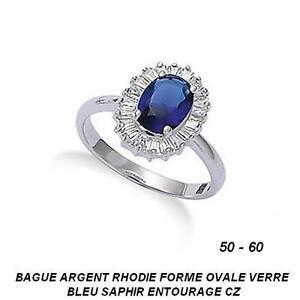 96e24b0bca9 Dolly-Bijoux Bague T50 à 60 Rhodié 13mm Marquise Saphir et Diamant ...