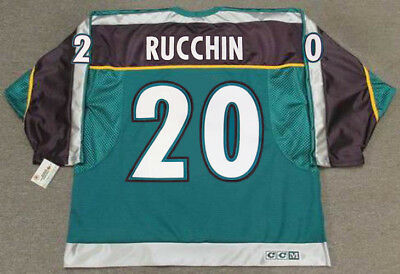 official photos d3581 50dd2 STEVE RUCCHIN Anaheim Mighty Ducks 1997 CCM Throwback Alternate Hockey  Jersey | eBay