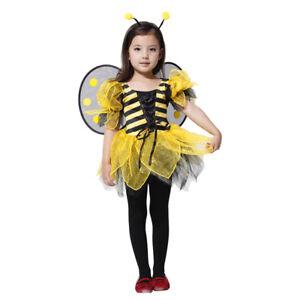 Girls Bumble Bee Costume Toddler Kids Halloween Cosplay Fancy Dress