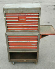 Vintage Craftsman 1970s Gray Amp Red Mechanics Rolling Tool Chest Box Cabinet