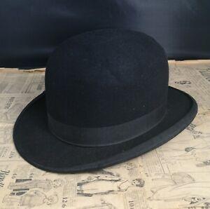 AgréAble Vintage Homme Feutre Noir Chapeau Melon-afficher Le Titre D'origine Blanc De Jade