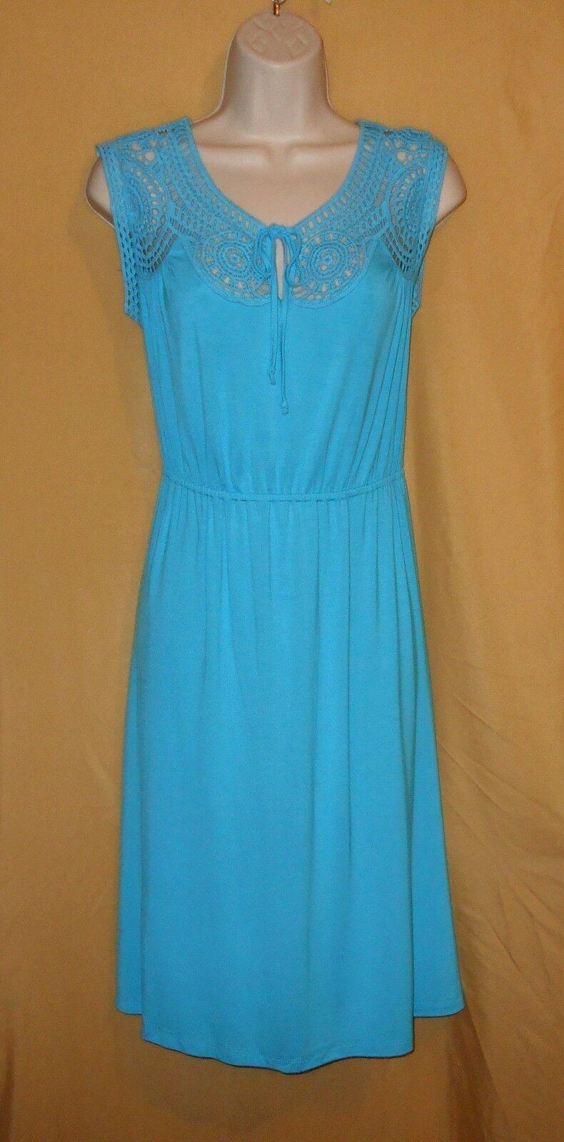 Spense women's turquoise aqua bluee crochet top sundress dress keyhole S